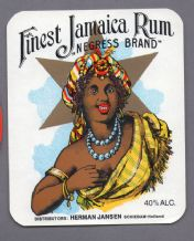 Collectible very old black Americana Rum bottle label very pretty #032